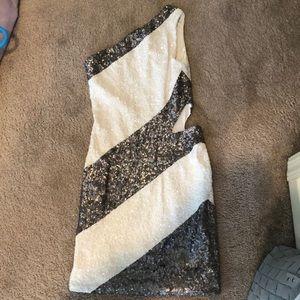 Bebe Sequin One Shoulder Mini Dress